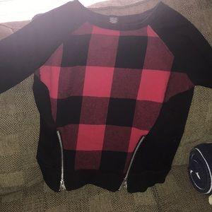 Rue 21 Checker Zipper Sweater/Shirt - SMALL